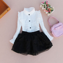 kids white blouses for girl clothes cotton shirt flare long sleeve chiffon ruffled blouse girls 2017 flare sleeve chiffon long blouse
