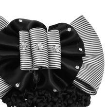 HOT SALE Faux Rhinestone Decor Ruched Bow Hair Clip Net Cover White Black