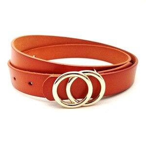 Image 3 - حزام نسائي فاخر من الجلد الطبيعي بحزام ذهبي اللون بإبزيم مستدير باللونين الأسود والأحمر