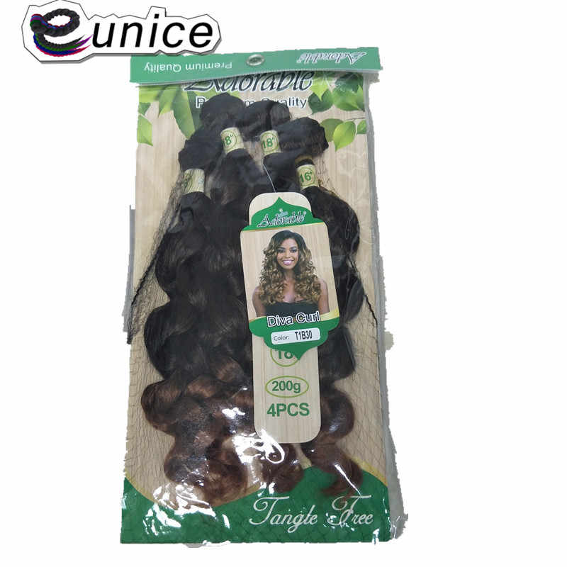 Eunice Loose Wave Hairs Bundles 4Pcs/Pack 16 16 18 18 inches Heat Resistant Pure Color 1B #2 Sew-in Synthetic Hair Extensions