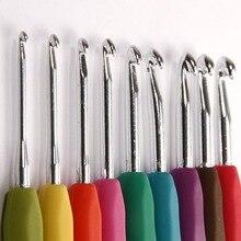 9 шт, смешанные цвета, металлический крюк для вязания крючком, шаблон комплект TPR Алюминий Вязание иглы для ткацкий станок инструмент Группа поделки своими руками P7Ding