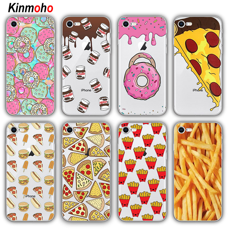 Fries Donut Pizza Nutella Chocolate Food Phone Cases For iPhone 7 6 6S 8 Plus 5S SE Coque For iPhone X XS Max XR Soft TPU Funda