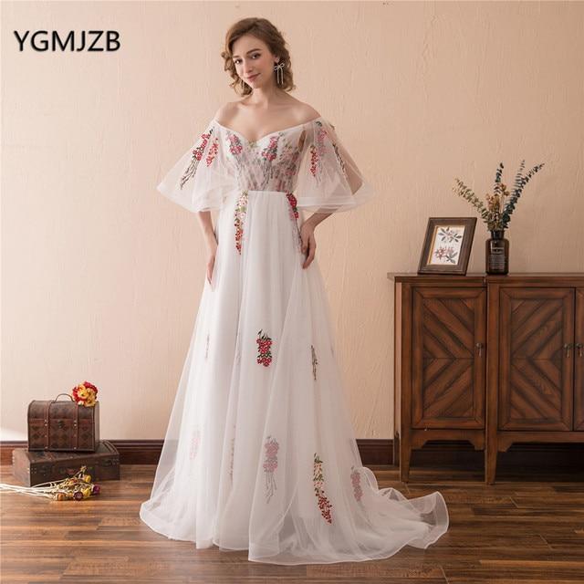 1cc95c0f6a3 Элегантные Цветочные Выпускные платья 2018 с открытыми плечами с рукавами  белые женские вечерние платья Длинные Вечерние