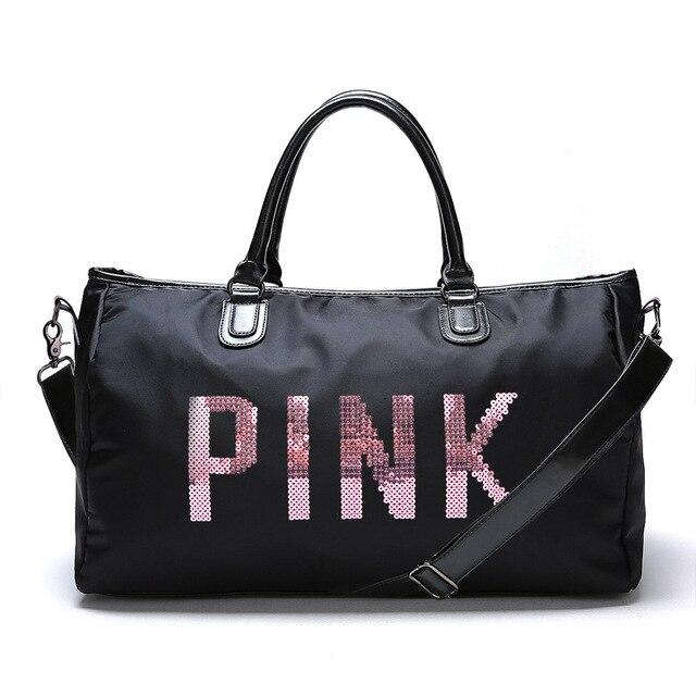 Designer Metal Sequins Letters Gym Bag Shoulder Crossbody Fitness Sports Women Tote Handbag Travel Duffle