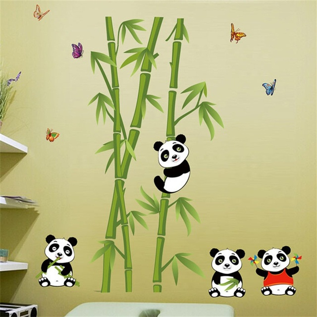 Hot!Home Decoration Accessories Mural Vinyl Cute Panda Eating Bamboo ...