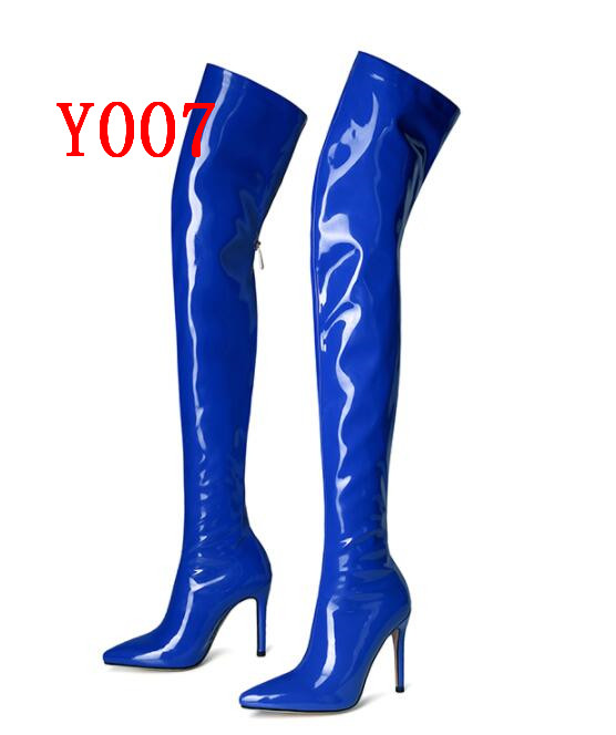 2019 New Fashion Sexy Women Over the knee Boots High Heels patent leather pu Pointed toe Lady botas shoes size 34-432019 New Fashion Sexy Women Over the knee Boots High Heels patent leather pu Pointed toe Lady botas shoes size 34-43