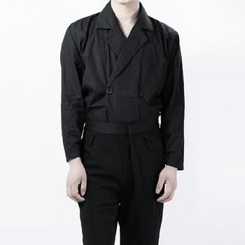 Large Size ! S-6xl Fashion New Casual Men Shirts Cotton Vintage Loose Double-breasted Lapels Black Long Sleeve Harajuku Shirt