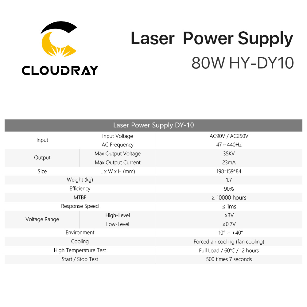 Image 5 - Cloudray DY10 Co2 Laser Power Supply For RECI W1/Z1/S1 Co2 Laser Tube Engraving / Cutting Machine DY Series-in Woodworking Machinery Parts from Tools