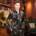 Moda Masculina Magro Ocasional Blazer Impresso (Jacket + Calças + T-camisa) Homens Baile Anfitrião Desgaste Estágio desempenho Ternos Definir trajes Dançarino