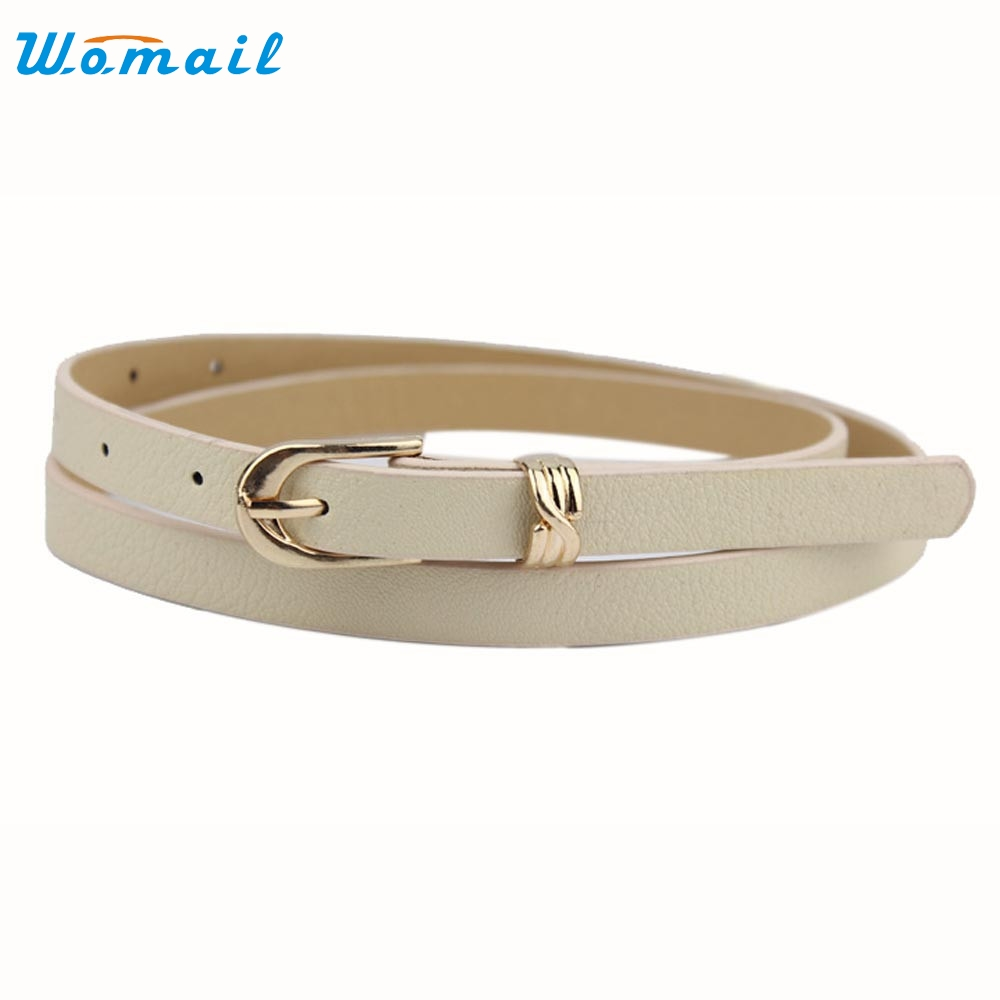 1PC thin Skinny pu Leather Waistband Womens Ladies Casual Belt Buckle Strap Gift