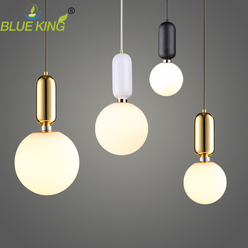 Modern Milk white Globe Glass Pendant Lights For Dining Room Bar Restaurant Deco Kitchen Room Hanging Pendant Lamp Fixtures