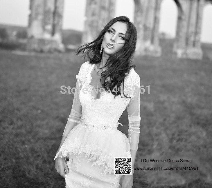 Robe De Mariee 2019 Western Style Lace Mermaid Wedding Dress Long Sleeve Winter Bridal Gowns V Neck Custom Vestido De Noiva