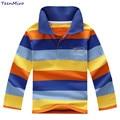 Kids T Shirt Boys Long Sleeve Cotton Polo Shirt Children Striped T-shirt Brand Design Tops Baby Bottoming Shirt Spring Summer