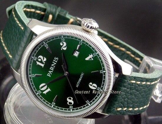 100% QualitäT 42mm Parnis Grün Zifferblatt/strap Armbanduhr Silber-stahl-gehäuse Miyota Automatische Herrenuhr PüNktliches Timing