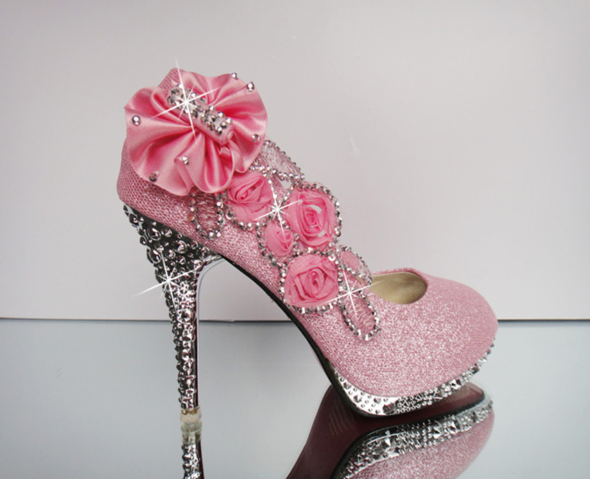 Pink High Heels For Wedding: 2015 Pink Luxury Bling Women Pumps 10cm High Heels Wedding