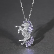 Rhinestone Unicorn Pendant Necklace