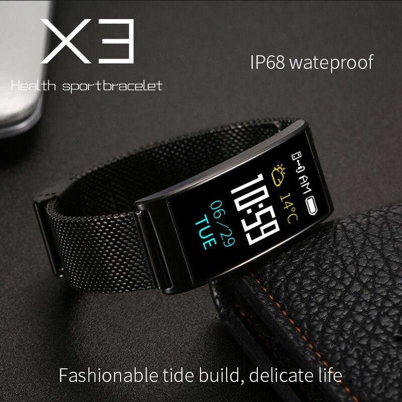 Reloj Inteligente X3 métal acier ceinture Bracelet intelligent Bluetooth Sport fréquence cardiaque pression artérielle montre intelligente hommes femmes Smartwatch