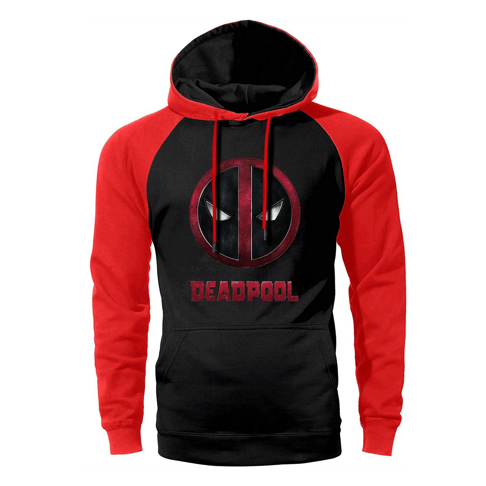 Deadpool Raglan Hoodie Men Super Hero Hoodies Funny Hipster Hooded Sweatshirt 2019 Spring Autumn Dead Pool Hip Hop Streetwear