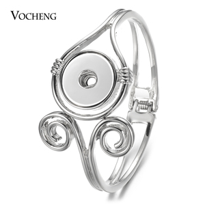 Image 1 - 10pcs/lot New Vocheng Gingersnaps Bracelet Alloy Bangle fit 18mm Snap Charms Diy Jewelry Female Gift Wholesale NN 743*10