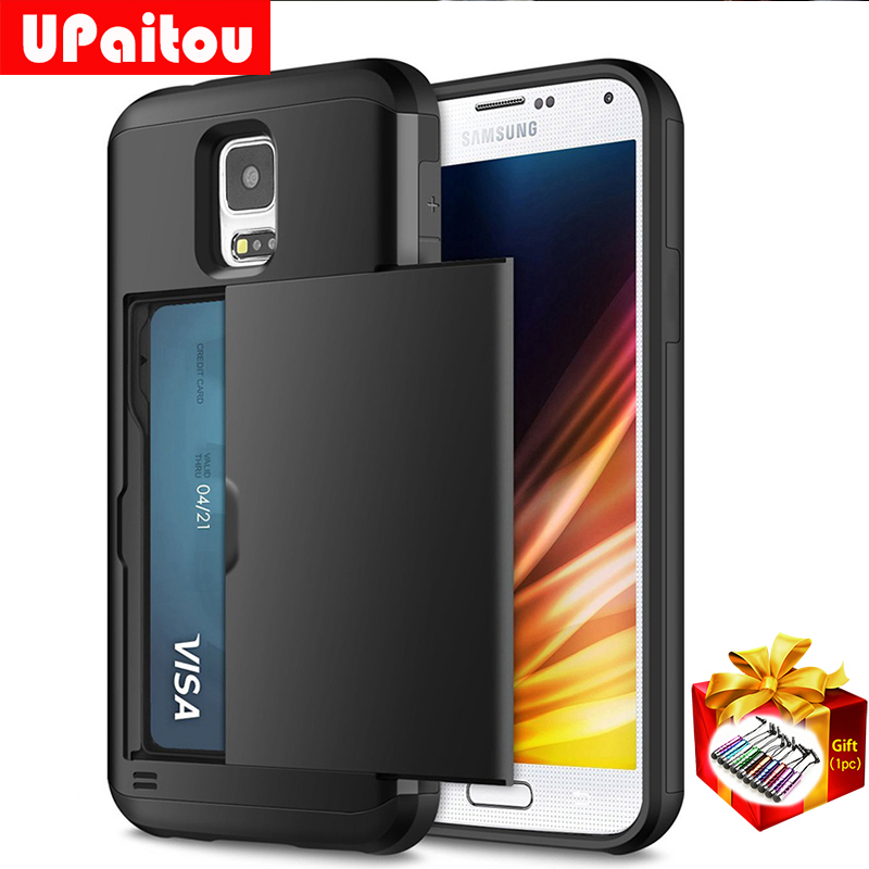 UPaitou Hybrid Armor Case for Samsung Galaxy S10 E Lite S9 S8 Plus S5 G900F G900K Wallet Case Card Bumper Cover for Samsung S5 visa