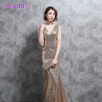 Real Photo Sparkly Gold Sequines Bridesmaid Dresses Mermaid Sexy V Neck With Spaghetti Straps V Back