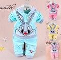 Bebé conejo de dibujos animados conjunto de terciopelo twinset de manga larga conjunto sudadera con capucha y pantalón, recién nacido 100% algodón trajes, ropa de los niños.