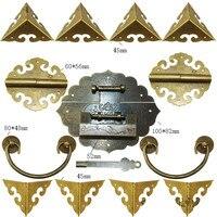 Chinese Brass Lock Set For Wooden Box,Vase Buckle Wooden Box Hasp Latch Lock+ Hinge+Corner+Handle,Bronze Tone