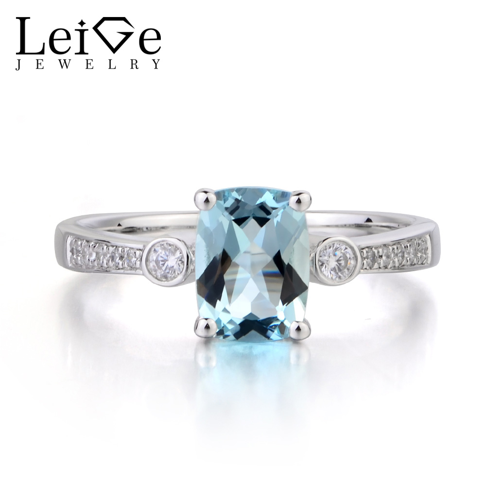 Leige Jewelry Natural Aquamarine Ring Cushion Cut Blue Gemstone March Birthstone Promise Rings 925 Sterling Silver Ring for Her