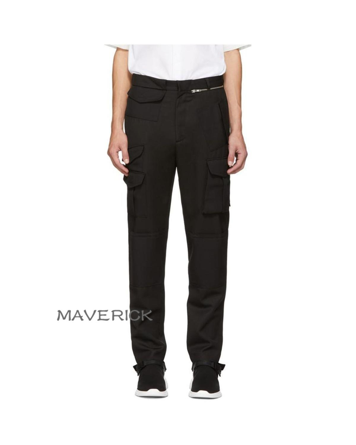 27-44!!2019 Men's autumn/winter cotton irregular overalls with asymmetrical pockets for slim-fitting trousers with small feet