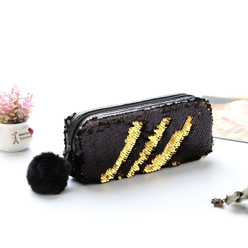 School Sequins Pencil Case Hairball Cosmetic Bag Cute Kawaii Purse Stationery Pencilcase Large Penal Travel Storage Bag Pouch Bo