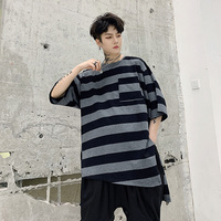 2019One size!!!Summer personality round neck front short long side slit design men's extra loose striped short sleeved t shirt.