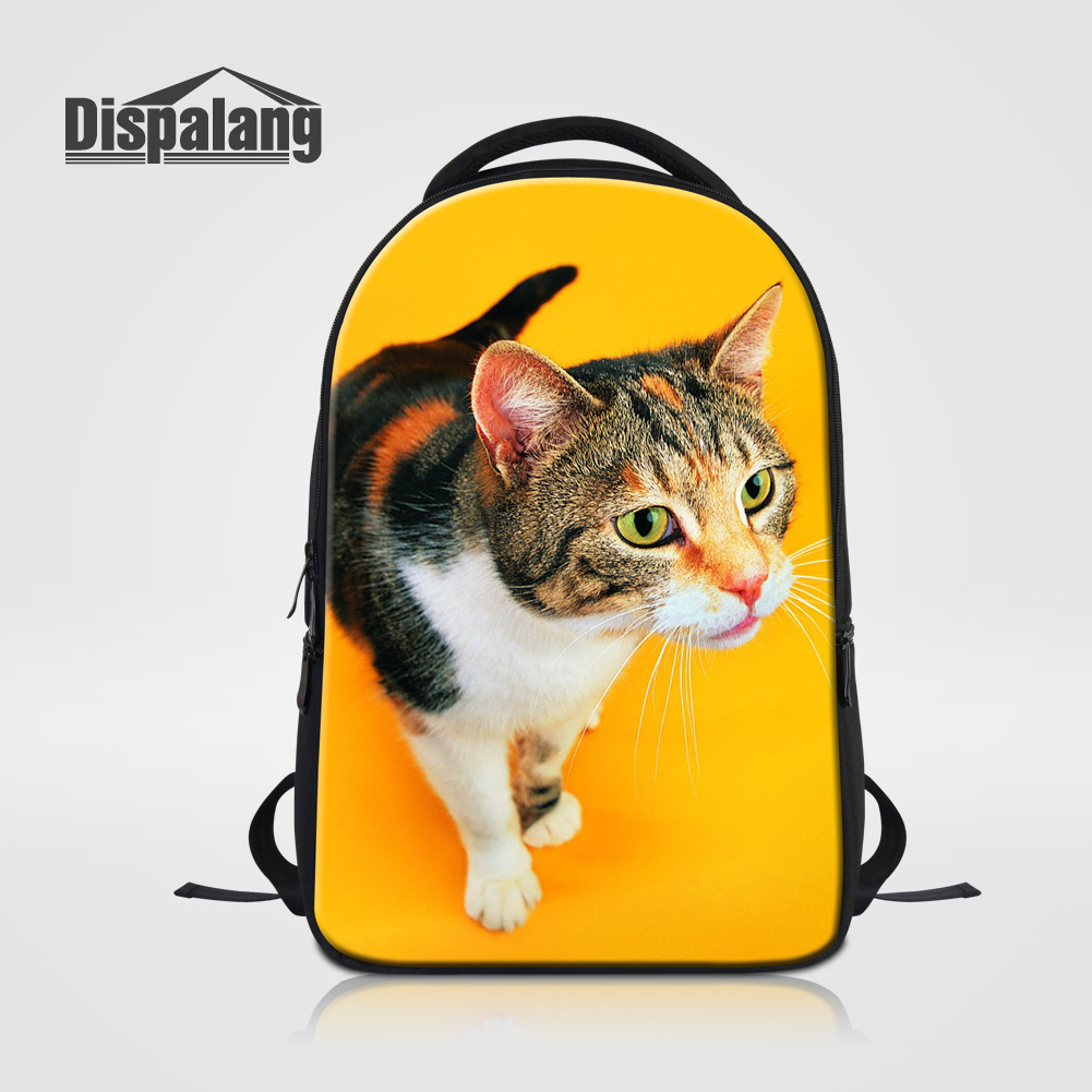 Dispalang Cat Animal Printing School Bags Stylish Travel Laptop Shoulder Bag Women Men Outdoors Knapsack Student