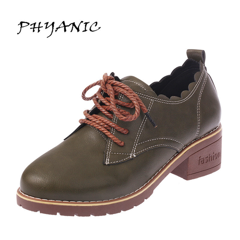 PHYANIC Vintage Lace Up Oxford Shoes For Women Fashion British Style Round Toe Woman Oxford Shoes Ladies School Shoes PHY9114 new brand black white vintage women footwear lace up casual oxford flat shoes woman british style breathable zapatos mujer