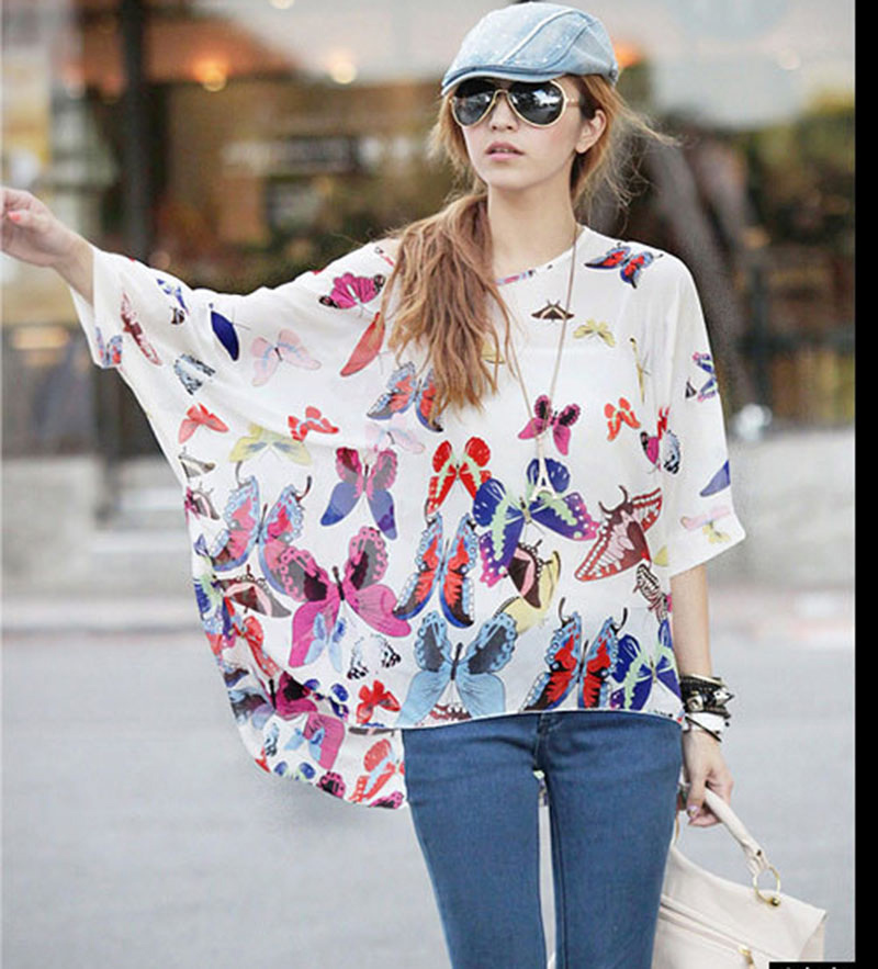54157a94896 Fashion Batw sleeved chiffon blouses girls plus size summer blusa 2016  vogue design Butterfly print blusas women sheer shirts-in Blouses   Shirts  from ...