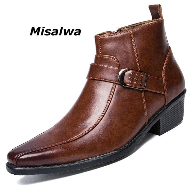 Misalwa homme Robe Cheville Zip En Cuir Bottes 2018 Automne Britannique Rétro Hommes Bottes Moto Chaussures Décontractées Noir Boucle Zapatillas