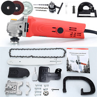 1000W 6 Speed Adjustable Electric 100 Angle Grinder + Chainsaw Woodworking Cutting Chainsaw Bracket Change Grinder + Drill bit