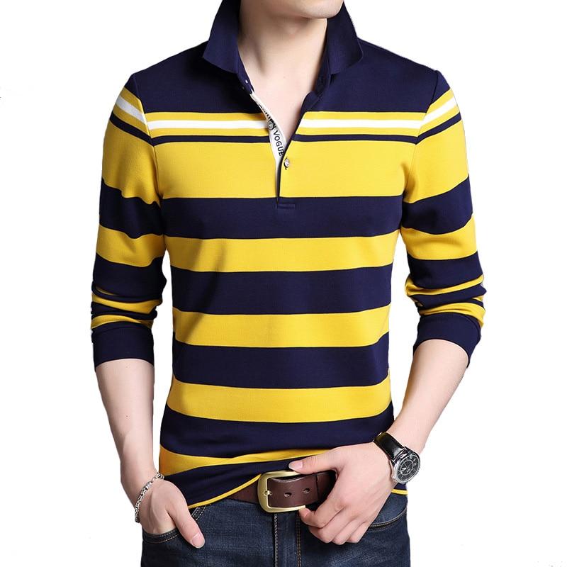 Men's Long sleeve   polo   shirt striped men   polos   casual high quality Top& Tees Autumn brand lapel   polo