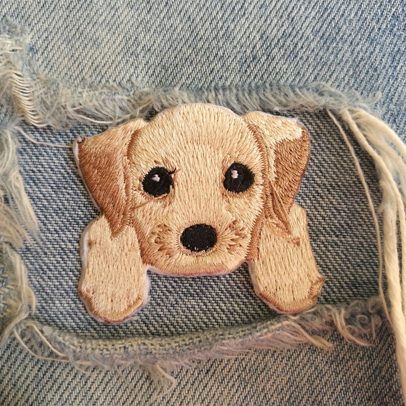 1 PIC 4.5*4.2CM Embroidered Cloth Computer Embroidered Character DIY LABRADORRETRIEVER DOG Decorative Patch Sticker