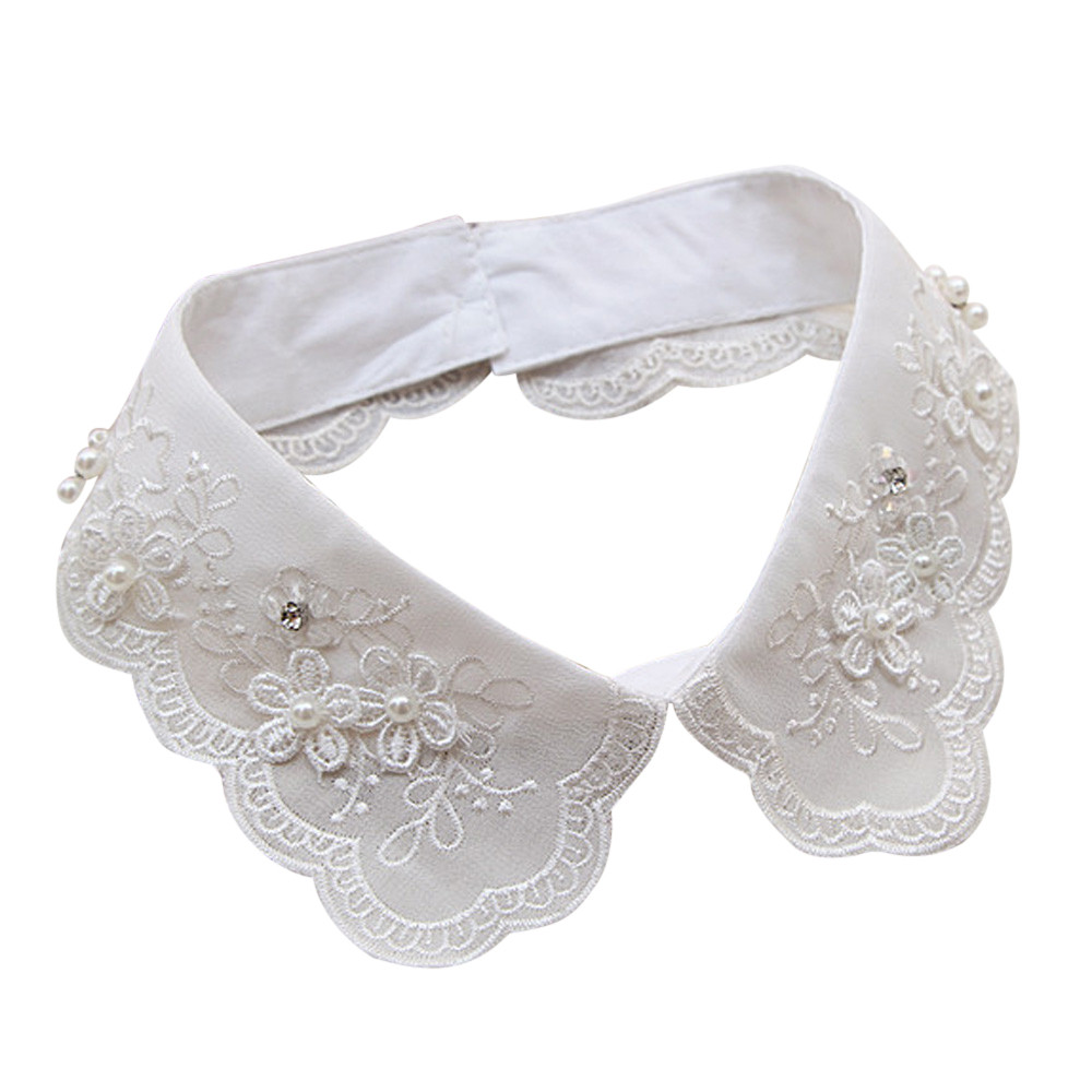Stylish Women Solid Cotton Detachable Lapel Choker Necklace Shirt False Collar