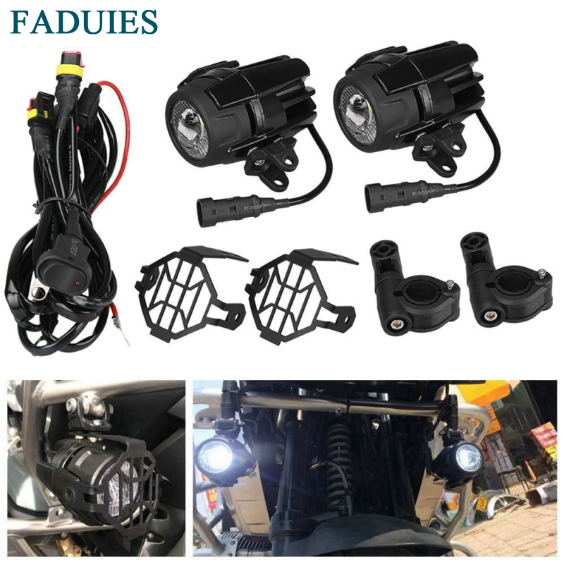 FADUIES 1 Set Universal Motorcycle LED Auxiliary Fog Light Assemblie Driving Lamp 40W Headlight For BMW R1200GS/ADV/F800GS