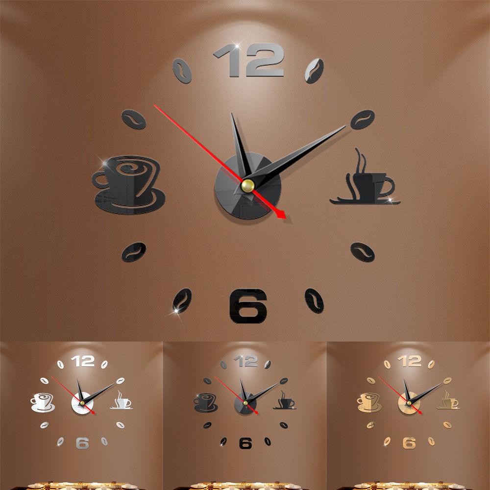 DIY 3D Number Wall Clock Mirror Sticker Home Room Modern Office Decor Art Design