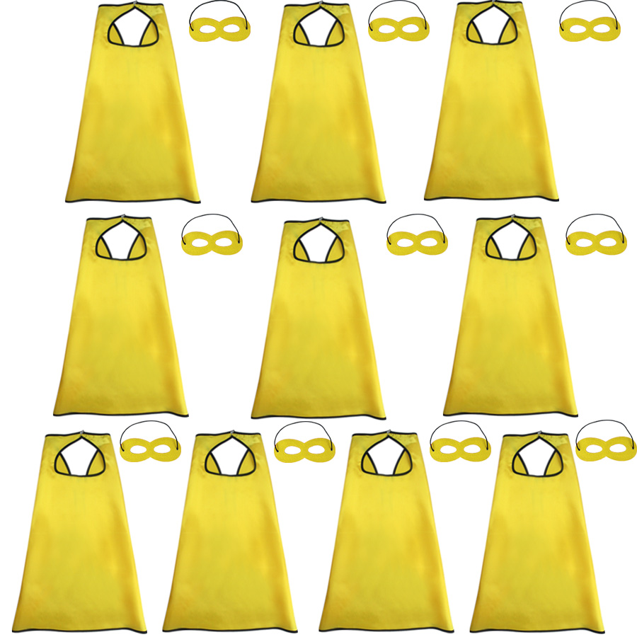 10 Pcs SPECIAL 70*70 cm Yellow Capes Masks Kindergarten Graduation Custom Halloween Costumes For Plays Toys Gifts For Boy Party