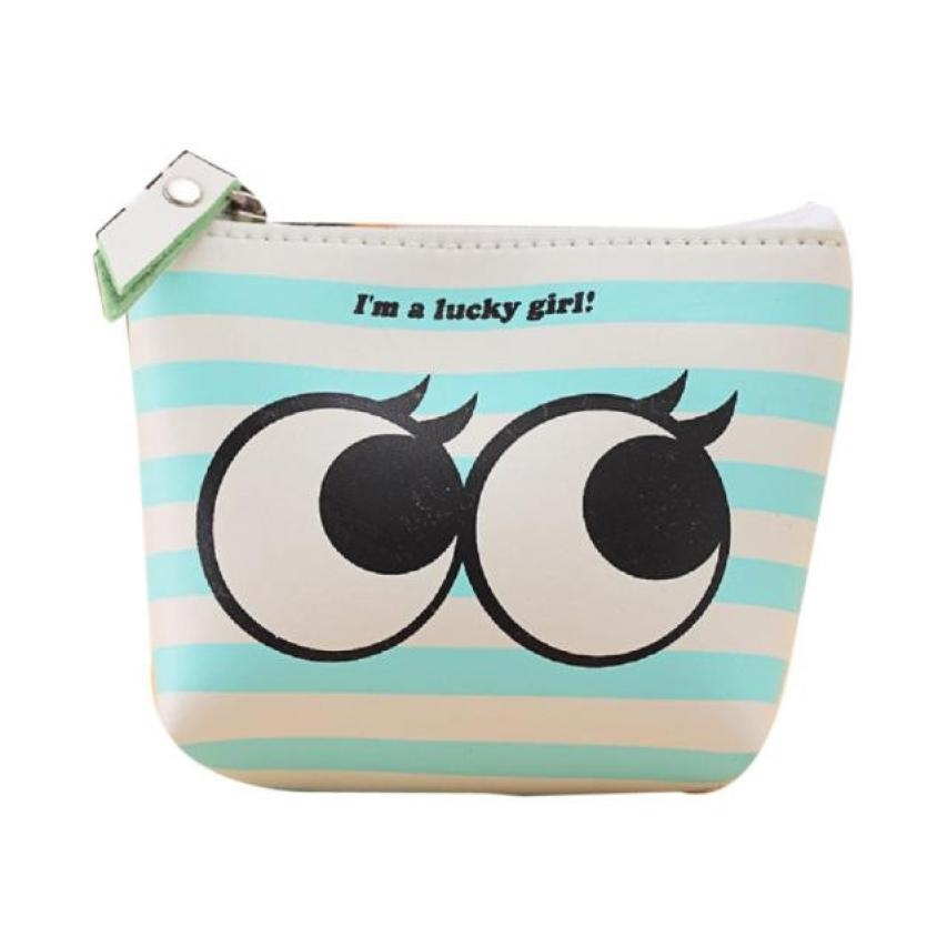 Women Girls Cute Cartoon Coin Purse Wallet Bag PU Leather Zipper Small Money Change Pouch Key Holder Purses