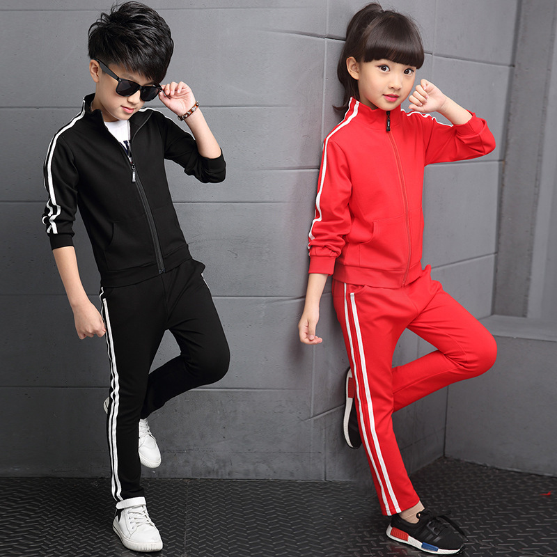 Image 5 - New Arrival Boys Clothing Sets Spring 2018 High Quality Childrens Pure Color Sports Suit Teenage Girl School Uniforms 6 15YearsClothing Sets   -