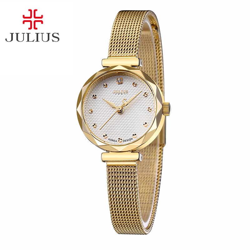 Top Julius Lady Women's Wrist Watch Fashion Hours Dress Stainless Steel Bracelet Chain Cutting School Girl Birthday Gift JA-829 new simple cutting glass women s watch japan quartz hours fashion dress stainless steel bracelet birthday girl gift julius box