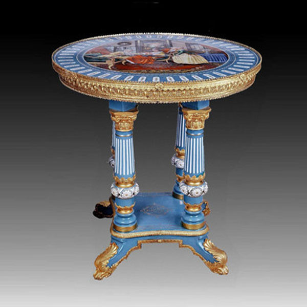 Luxury Hand Painted Porcelain Br Table Round With Four Column Tea Side For Home Decorative Furniture