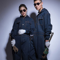 Winter Mens denim Working Overalls Male Work Wear uniforms clothes Fashion Hooded Jumpsuits For Worker Repairman 101303