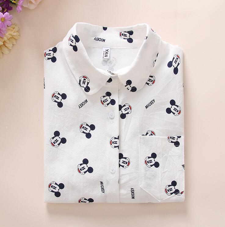 2019 Spring New Women Long Sleeve High Quality Cotton Shirt Cartoon Dog Print Casual Blouse Shirts Slim White Tops Blusas