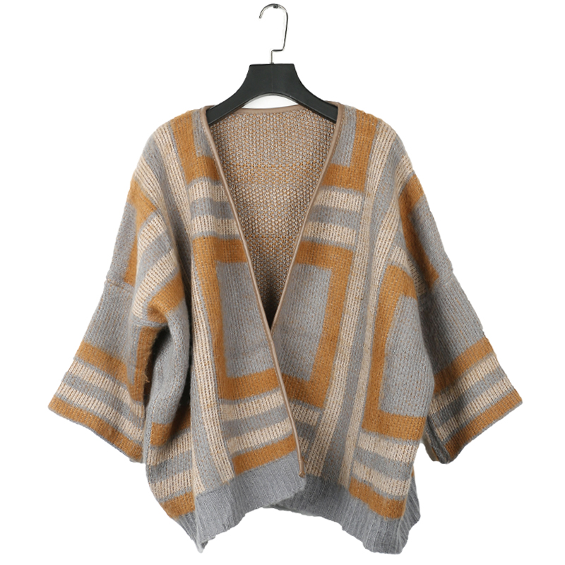 2017 autumn casual maternity Geo print knitted kimono coats prgancy cardigans tops pregnancy outerwear sweaters