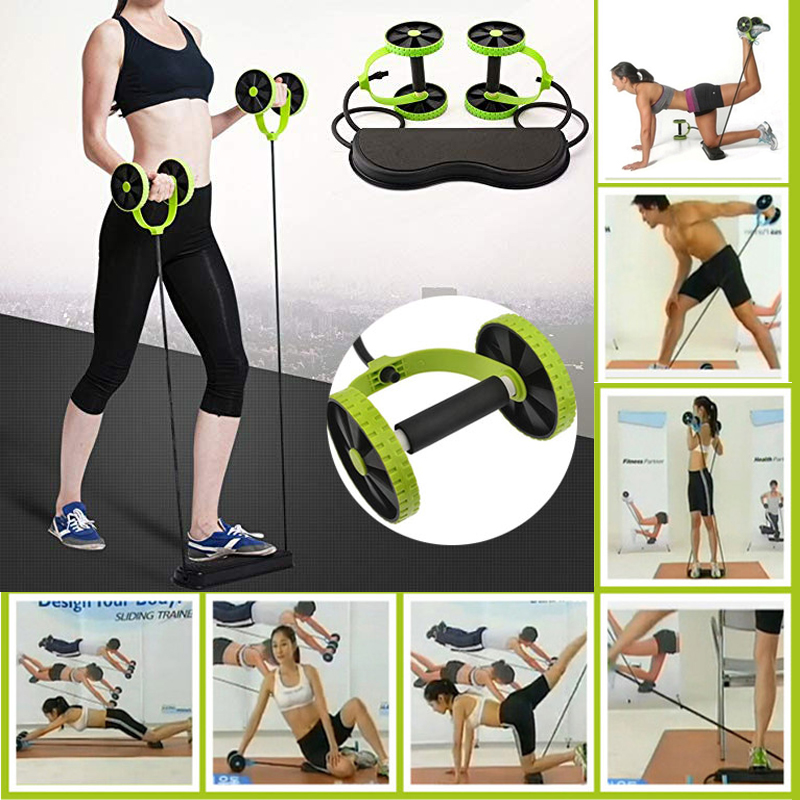 FAVSPORTS New Multi functional Body Building Fitness Abdominal Dual Wheel Rollers Arm Leg Waist Muscle Trainer